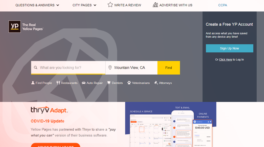 YellowPages Built with Ruby on Rails